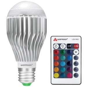 Warmoon E27 Edison Screw LED Colour Changing Dimmable Bulb with remote control 10W RGB £5.94 lightning deal @ Amazon ( Sold by WarmoonDirect and Fulfilled by Amazon)