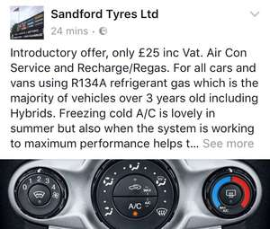 Bargain price air-con regas £25 Sandford tyres Ltd stoke on trent [off line deal]