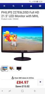 """PHILIPS227E6LDSD Full HD 21.5"""" LED Monitor with MHL £84.97 @ Currys"""