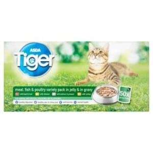 50 Asda Tiger Cat Food Pouches - £2 clearing stock for new packaging instore - Tilbury