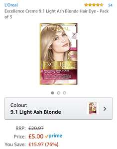 3 pack of Loreal blonde hair dye £5 posted [prime exclusive] @ Amazon