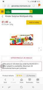 Kinder Surprise Multipack 60g £1.40 @ Morrisons