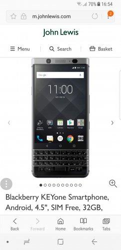 "Blackberry KEYone Smartphone, Android, 4.5"", SIM Free, 32GB, Black £449 @ John lewis"