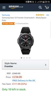 Samsung gear s3 frontier smart watch - £238.99 @ Amazon (sold by Canal)