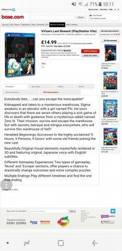 Virtue's Last Reward (PlayStation Vita) £14.99 Base.com