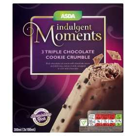 ASDA Indulgent Triple Chocolate Cookie Crumble ice cream (pack of 3) £1