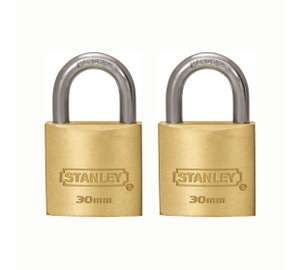 Stanley 2 Solid Brass 30mm Padlocks £1.80 @ Argos