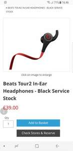 Beats Tour2 In-Ear Headphones - Black £39 @ KRCS
