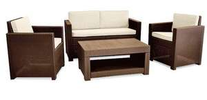 Allibert Monaco 4 Seater Lounge Set - Brown with Cream cushions @ Amazon for £159.99