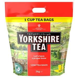 Yorkshire Teabags Traditional 1200 One cup. Tea bags for £16.40 @ Amazon Prime / £21.15 non-Prime