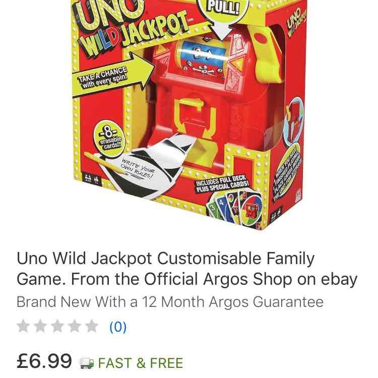 Uno Wild Jackpot - Argos Shop eBay - £6.99 Free delivery