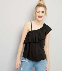 Black / Purple Asymmetric Frill Trim One Shoulder Top £1 was £7.99 @ New Look