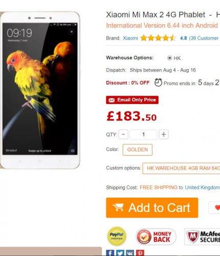 Xiaomi Mi Max 2 4G Phablet 4GB RAM 64GB ROM  GOLDEN - £183.50 at Gearbest