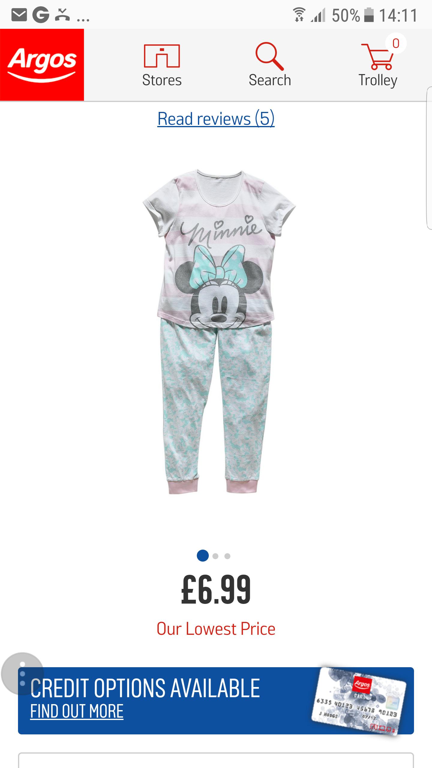 Ladies pyjamas £6.99 @ Argos