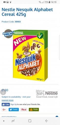 Nestle Nesquik Alphabet Cereal 425g £1 @ B&M