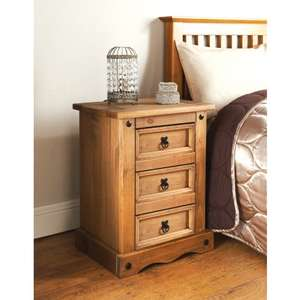 Rio 3 Drawer Bedside Table ONLY £34.99 @ B&M