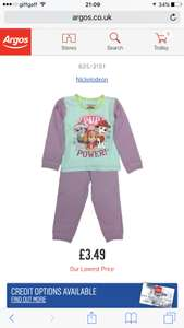 Paw Patrol Pyjamas at Argos for £3.49 (C&C) - now £2.99