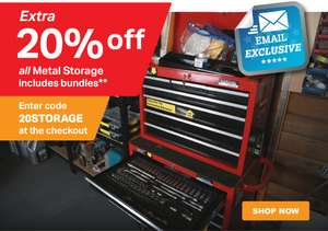 Extra 20% off metal storage at Halfords