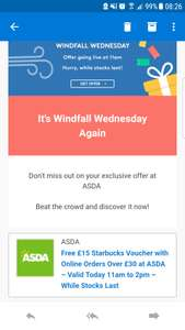 spend £30 at asda get a £15 Starbucks voucher - Windfall Wednesday voucher codes