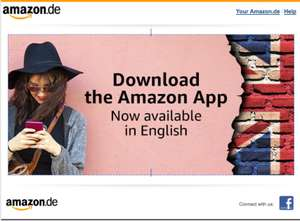 Amazon.de app now has English Language added. FREE APP
