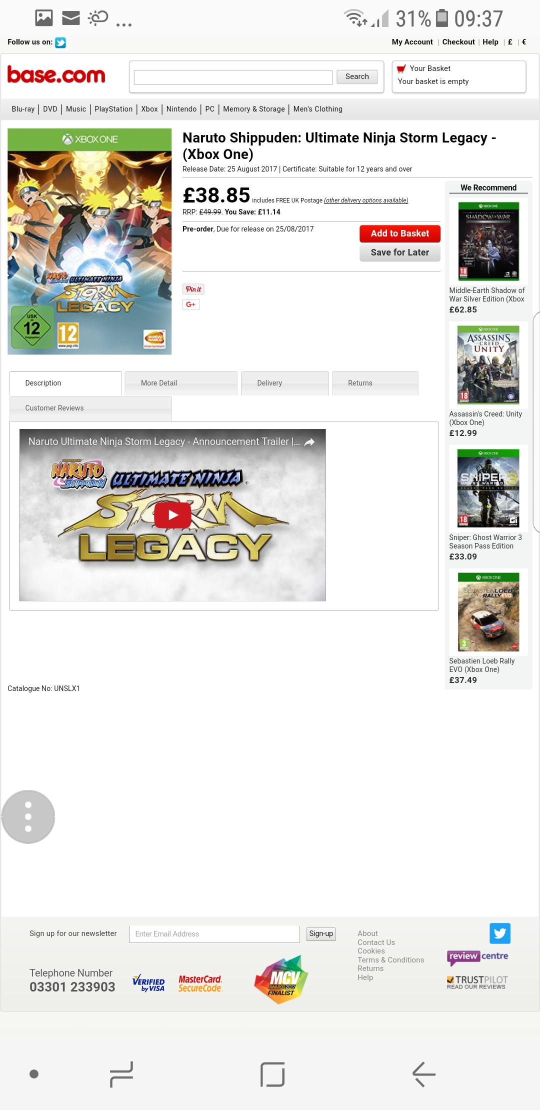 Naruto Shippuden: Ultimate Ninja Storm Legacy - (Xbox One) £38.85 at Base.com