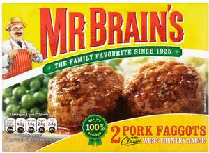Mr Brain's 2 Pork Faggots (222g) was 75p now 2 for £1.00 @ Iceland