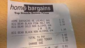 Big Bear Black Pink Malt drink 59p for 6 cans, unadvertised at Home Bargains