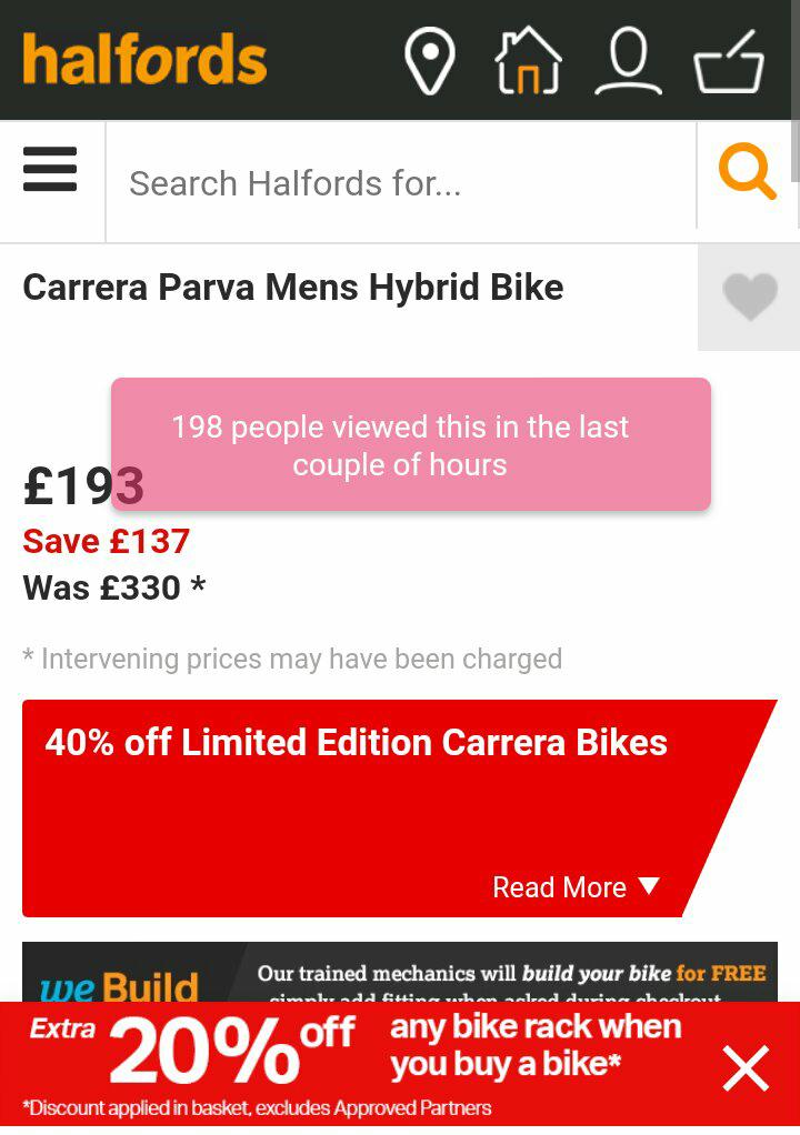 Carrera Parva Mens Hybrid Bike £193 at Halfords