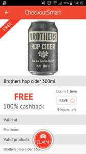 Brothers Hop Cider - Free @ Morrisons with CheckOutSmart