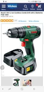 Bosch 18V Li-ion Cordless Combi Drill with 2 Batteries PSB 1800 £69.99 @ Wickes