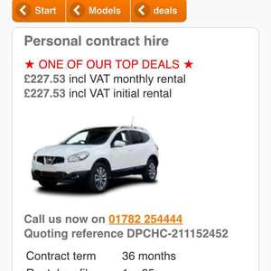 Nissan QashQai lease with Yes Lease - £227 per month x 36 months = £8172