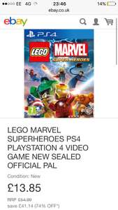 LEGO MARVEL SUPERHEROES PS4 PLAYSTATION 4 VIDEO GAME NEW SEALED OFFICIAL PAL Free delivery £13.85 Shopto on eBay