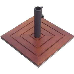 Wooden parasol base in brown at Homebase for £18.93