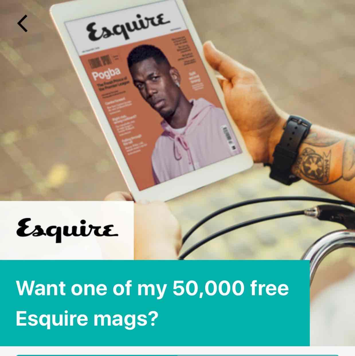 Free digital copy of Esquire magazine on Wuntu (three)