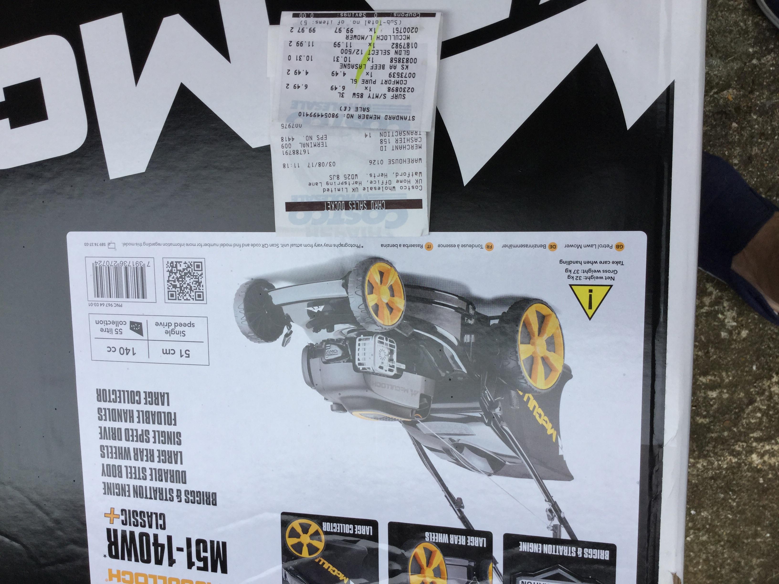 McCulloch lawnmower £119.96 @ Costco