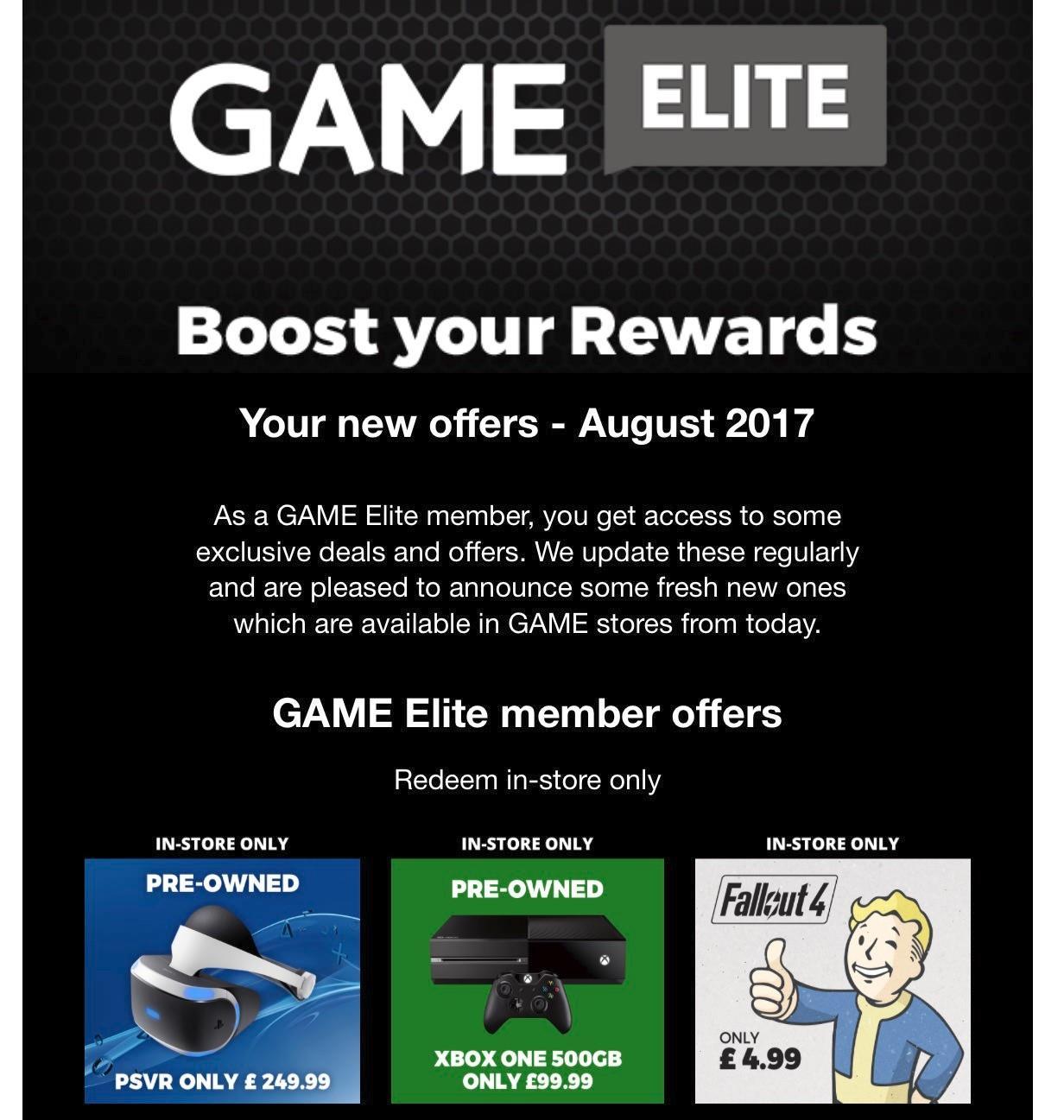 Preowned Xbox One £99 w/ Game Elite Sub @ GAME
