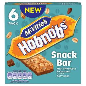 McVities Hobnobs Snack Bar Milk Chocolate & Sweet Coconut Oaty Bar 6 pack (180g) Only £1.00 @ Morrisons