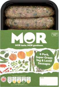 Mor Pork and Green Vegetable Sausages (6 = 400g) was £3.00 now £2.00 @ Tesco