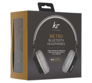 KitSound Metro with both Bluetooth & wired option included in box.  On Ear Headphones Black £14.66 @ Sainsbury's
