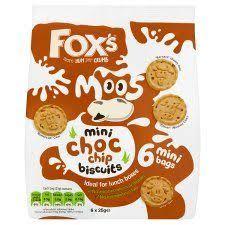 Fox's mini moos chocolate chip biscuits 6 bags per pack. 2 packs for £1 heron foods