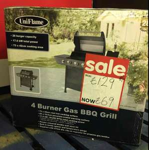 Uniflame 4 Burner Gas BBQ Grill down from £199 to £140 then £95 and now £69 @ Asda