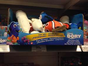Disney PIXAR Finding Dory Toys: Mini Talking Plush 99p, Plush with Sound £2.99, Robotic Swimming Fish £2.99​, Bath Squirters 79p​​, Swigglefish 79p INSTORE at Home Bargains
