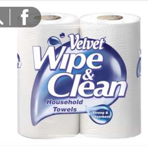 Velvet Wipe & Clean Household Towels - Pack of 10x2 = 20 Rolls @ Costco for only £10.78 each 54p