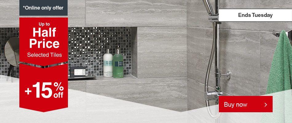Upto 50% Off Wall / Floor Tiles + Extra 15% Off + Free C+C @ Wickes ie Arden Oak 150 x 600mm Wood Effect Matt Porcelain Floor & Wall Tile - Pack of 11 now £5.10