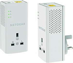 NETGEAR PLP1200-100UKS 1200 Mbps Powerline Ethernet Adapter Homeplug, Pass Through/Extra Outlet - £44.99 @ Amazon