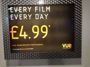 Vue Manchester Printworks - £4.99/ticket - Every film, Every day