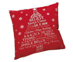 Christmas filled cushion £1.99 @ halfcost (free delivery when you spend £10, otherwise £3.99 for delivery)