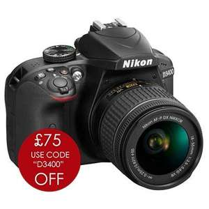 Nikon D3400 Digital SLR Camera with 18-55mm AF-P VR Lens (£309 with cashback) @ Carmarthen Cameras