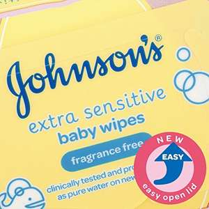Johnson's Baby Extra Sensitive Fragrance Free Wipes - Pack of 18 for £10.50 with Amazon Prime (or £7.98 for first time subscribers)