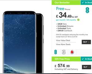 Samsung Galaxy S8, EE 10gb, unlimited Calls/Texts £37.99 p/m at Mobile Phones Direct (£911.76)